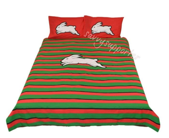 South Sydney Rabbitohs Nrl Logo Queen Quilt Cover Set Savvysupporter